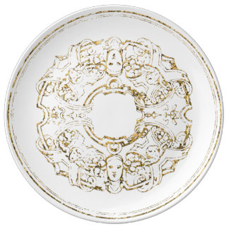 Renaissance Italian Ornament White Gold Metallic Plate