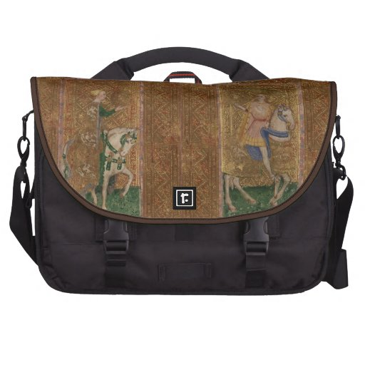 Renaissance Lady and Knight Medieval Tarot Cards Laptop Messenger Bag