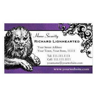 Renaissance Lion Elegant Antique Vintage Purple Double-Sided Standard Business Cards (Pack Of 100)