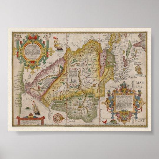 Renaissance map of Peru and Brasil Poster