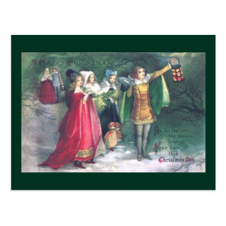 Renaissance Revelers on Stroll Vintage Christmas Postcards