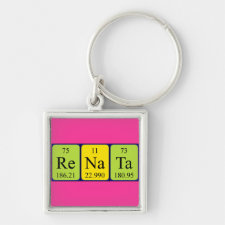 Keyring featuring the name Renata spelled out in symbols of the chemical elements