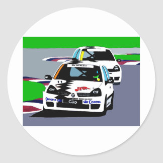 Renault Clio Racing Cars Classic Round Sticker