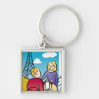 Rendezvous at Eiffel Tower Silver-Colored Square Key Ring