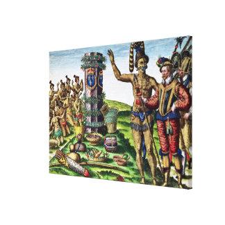 Rene Goulaine de Laudonniere  and Chief Athore Canvas Print