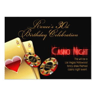 Renee Vegas Casino Night 30th Birthday Party Card