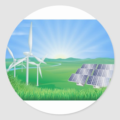 Renewable energy illustration round sticker