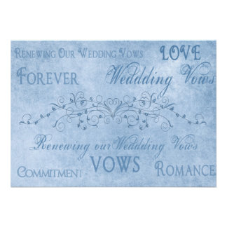 Renewal Wedding Vows - Blue Textures Card