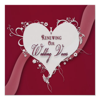 Renewing Wedding Vows - Floral Heart/Ribbon Card