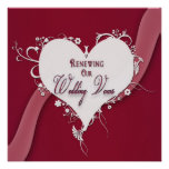 Renewing Wedding Vows - Floral Heart/Ribbon Personalized Invite