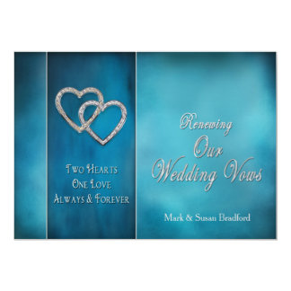 RENEWING WEDDING VOWS INVITATION-TWO HEARTS/BLUES CARD