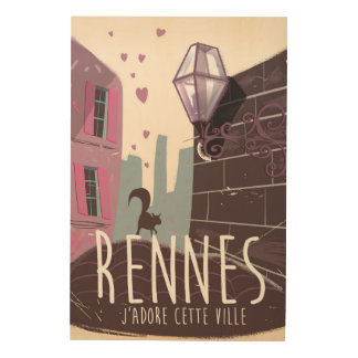 Rennes France city travel poster Wood Prints