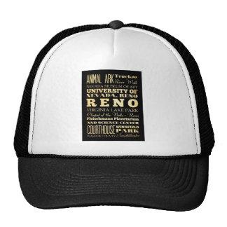Reno City of Nevada State Typography Art Trucker Hat