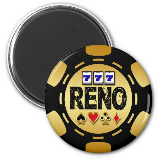 RENO GOLD AND BLACK POKER CHIP 6 CM ROUND MAGNET