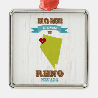 Reno, Nevada Map – Home Is Where The Heart Is Christmas Ornament