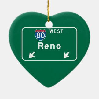 Reno, NV Road Sign Christmas Ornament