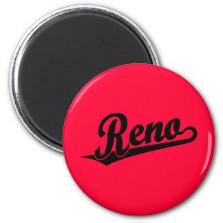 Reno script logo in black 6 cm round magnet