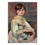 Renoir Art Card: Mlle. Julie Manet with Cat