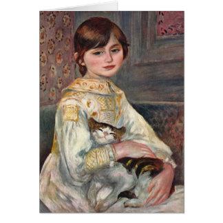 Renoir Art Card: Mlle. Julie Manet with Cat Greeting Card