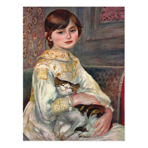 Renoir Art Postcard: Mlle. Julie Manet with Cat