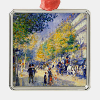 Renoir art: The Great Boulevards painting Silver-Colored Square Decoration