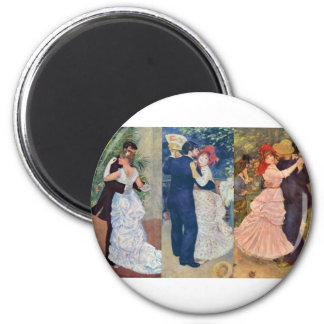 Renoir - Dance in the City, Country, and Bougival 6 Cm Round Magnet