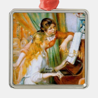 Renoir: Girls at the Piano Silver-Colored Square Decoration