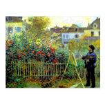 Renoir - Monet Painting in His Garden Post Cards