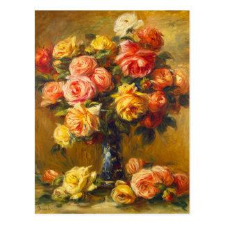 Renoir Roses in a Vase Postcard