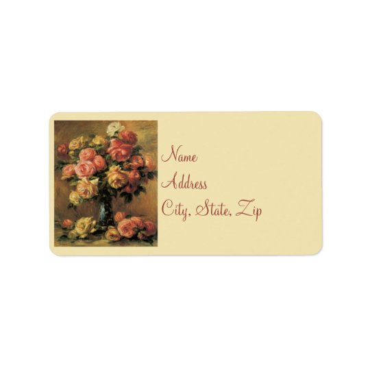 Renoir Roses Wedding Address Labels