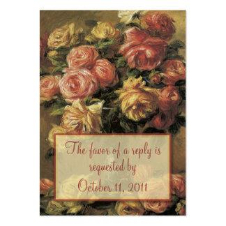 Renoir Roses Wedding RSVP Reply Card Business Card Templates