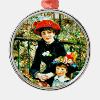Renoir - Two Sisters on the Terrace Silver-Colored Round Decoration