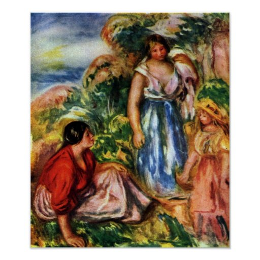 Renoir - Two women with young girls in a landscape Posters