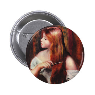 Renoir Young Girl Combing Her Hair Button