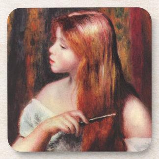 Renoir Young Girl Combing Her Hair Coasters