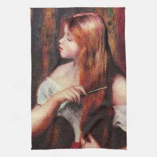 Renoir Young Girl Combing Her Hair Kitchen Towel