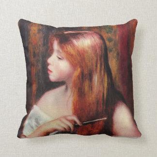 Renoir Young Girl Combing Her Hair Pillow Cushions