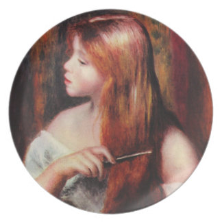 Renoir Young Girl Combing Her Hair Plate