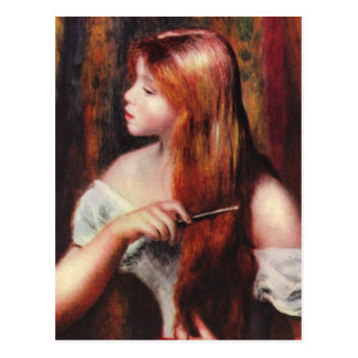 Renoir Young Girl Combing Her Hair Postcard