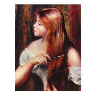 Renoir Young Girl Combing Her Hair Postcard