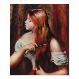 Renoir Young Girl Combing Her Hair Poster