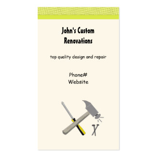 Renovations and Custom Construction Tools Pack Of Standard Business Cards