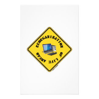 Reorganization Of Life Ahead (Yellow Warning Sign) Personalized Stationery