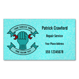 Repair Mechanic Technician Plumber With Red Wrench Magnetic Business Cards