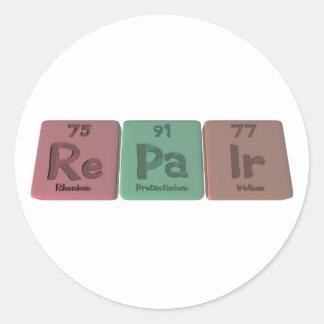 Repair-Re-Pa-Ir-Rhenium-Protactinium-Iridium.png Round Sticker