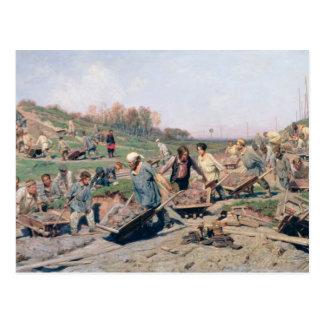 Repair Works on the Railway Line, 1874 Postcard