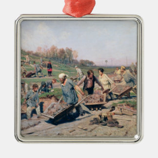 Repair Works on the Railway Line, 1874 Silver-Colored Square Decoration