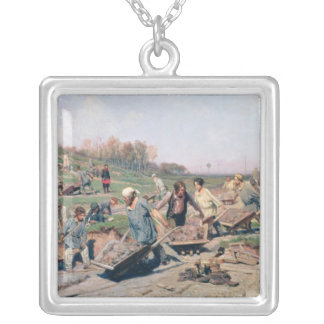 Repair Works on the Railway Line, 1874 Silver Plated Necklace