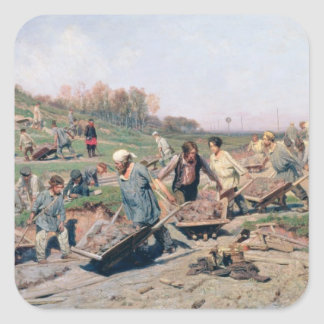 Repair Works on the Railway Line, 1874 Square Sticker