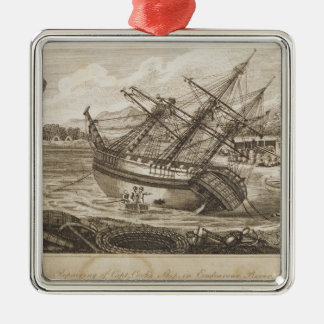 Repairing of Captain Cooks ship Christmas Ornament